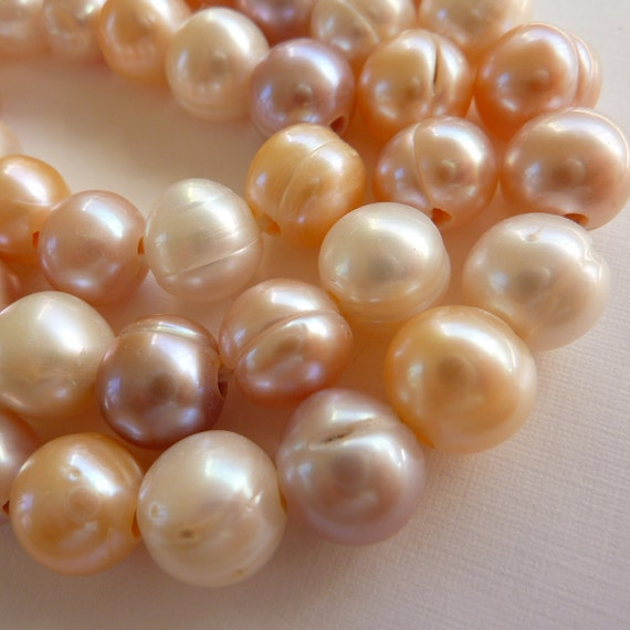 Freshwater Pearls Large Hole Pearls Natural Color Pink Mauve White  11mm 10 Pieces