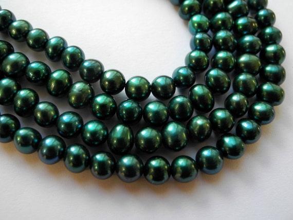 Fresh Water Pearls Teal Blue Green Potato 5mm Full Strand Pottymouthgems
