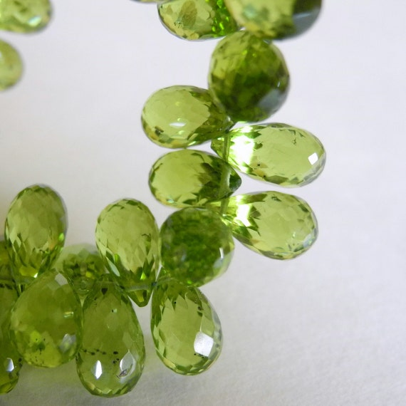 aaa Peridot Beads Faceted Gemstone Drop Briolettes Green  11mm