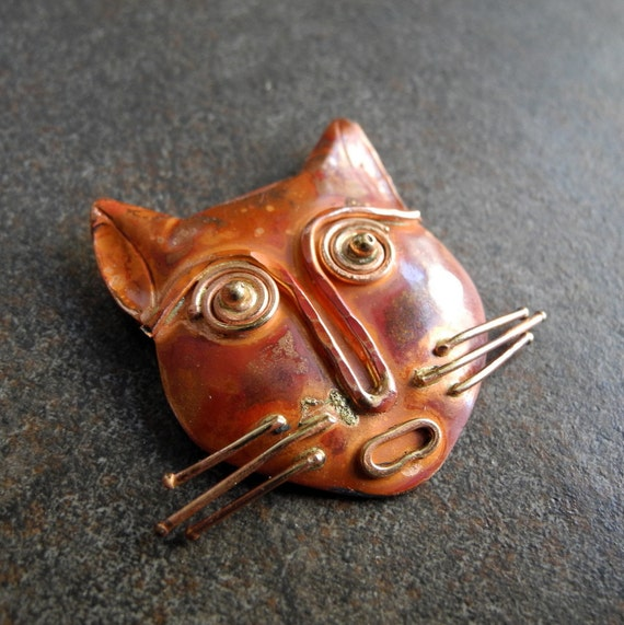 Copper Pendant Copper Bead Kitty Cat Focal Large Rustic  Patina 35mm