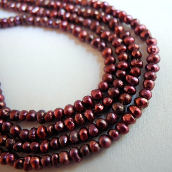 Freshwater Seed Pearls Deep Garnet Red  2.5mm 3mm Full Strand