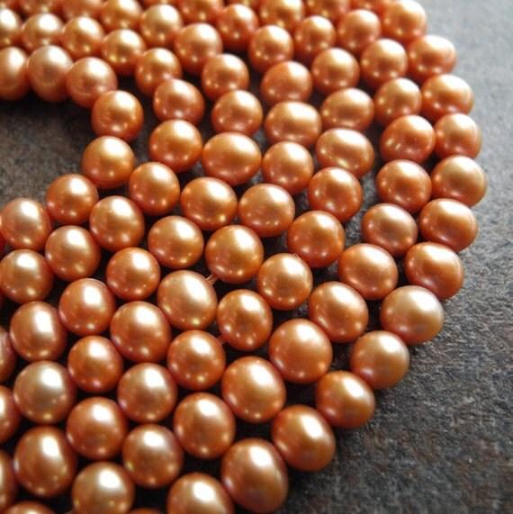 Freshwater Pearl Beads  Potato Burnt Orange Apricot 5mm Full Strand