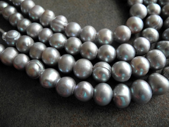 Freshwater Pearl Large Hole Silver Gray Grey 9mm 10mm 22 Pearls