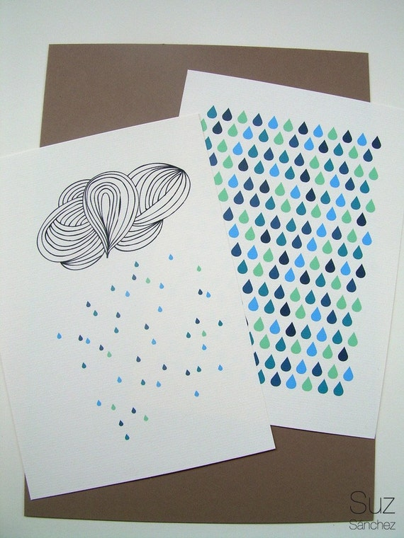PRINT - Cloud color drops and pattern - set of 2