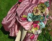 AUTUMN FLOWER SKIRT in mauve - glamorous grunge - upcycled statement piece