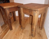 Oak Side, End Table, recycled, reused wood