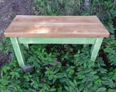 Antiqued Green Painted, Butternut Topped End, Side Table, Bench