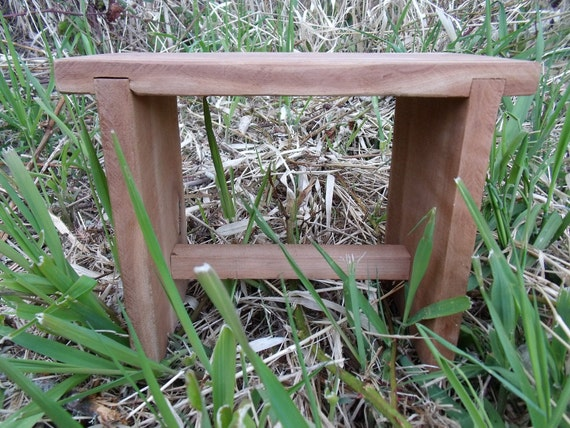 Rustic Black Cherry Step Stool, Bench, Side, End Table