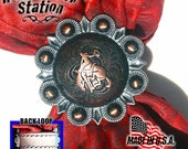 Slide for Scarf, Bandanna, Wild Rag - Bronc Rider Concho in old rust, leather loop