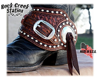 Spur Straps, Bright Concho, Old West, fully lined, handmade