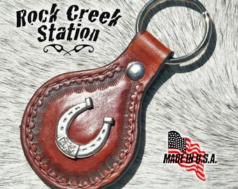 Leather Key Ring Fob with Lucky Horseshoe Concho, Handmade
