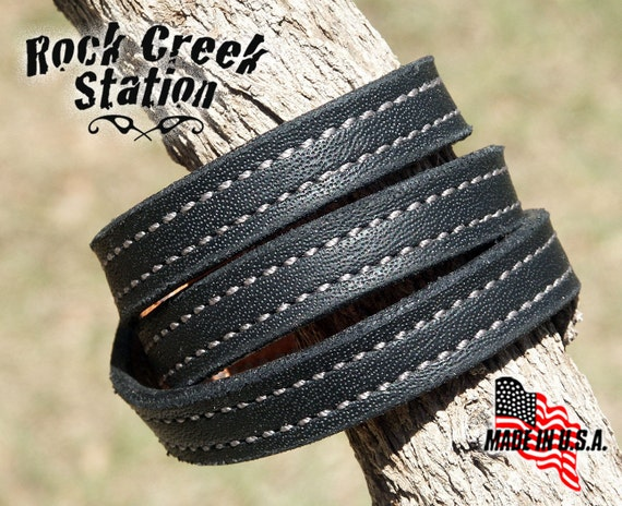 Thrice 'Round, Black Leather Wrist Cuff, Silver Stitching, Handmade, Leather Lined