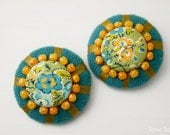 Covered Liberty Buttons Embellished set of 2 Home Decor  - 1.49inch (38mm)  - Teal