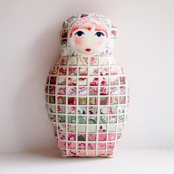 Art Doll Home Decor Matryoshka Mosaic - mini pillow
