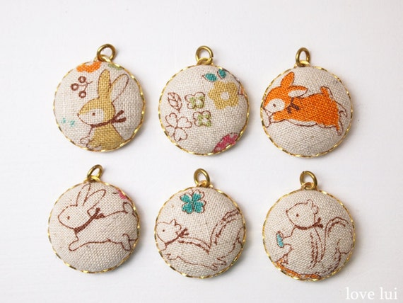 Charms Fabric Covered 20mm Forest Friends - Set Of 6 (set 9)