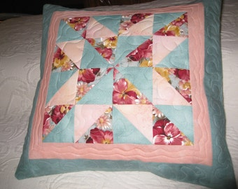 Patchwork Quilted Pillow Cover, 14x14, Mint green, peach, and burgandy