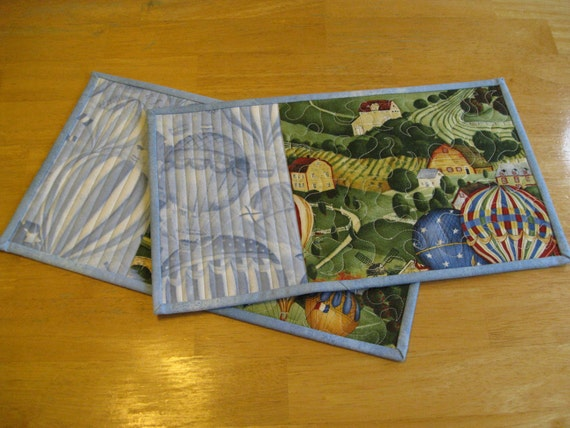 Mug Rugs/ Snack Mats/ Small Placemats, Air Balloons, Set of Two