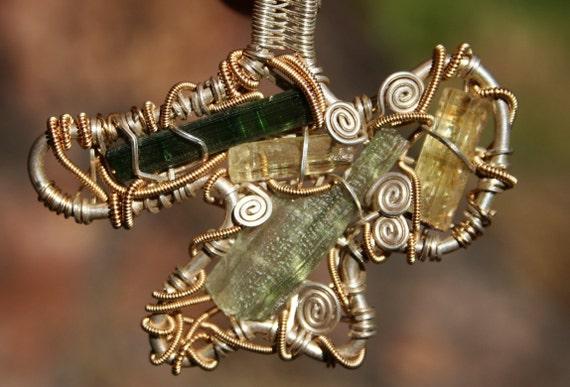 Moldavite, Heliodor, Green Tourmaline Wire Wrapped in Sterling Silver Pendant