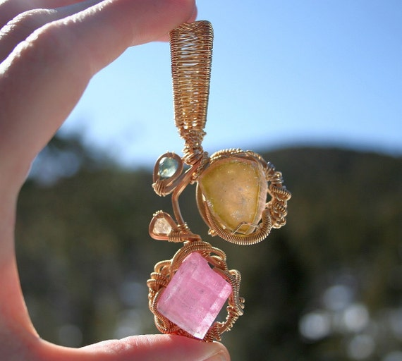 RESERVED for Marion Watermelon Tourmaline, Pink Tourmaline, Blue Sapphire, Clear Quartz Crystal with Gold Filled Wire Pendant