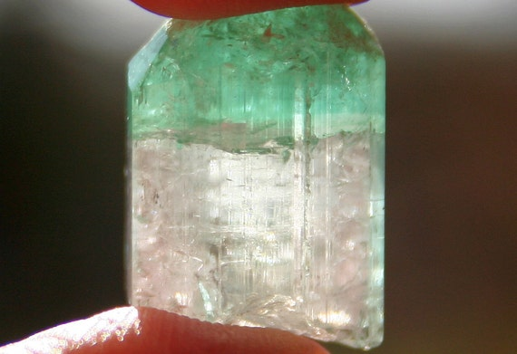 Minty Fresh Green Tourmaline Tri Colored Crystal Specimen with Dome Termination