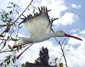 Flying stork (felted statuette)