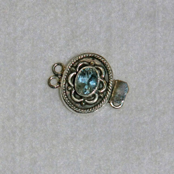 Faceted Blue Topaz Bali Style Sterling Box Clasp
