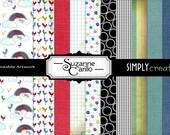 Printable Digital Scrapbooking Patterned Papers Happy Rainbows & Birds
