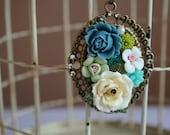 Resin Victorian Style Floral Bouquet Pendant Necklace