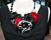 Black and Red Elegant Vintage Floral Fabric Necklace