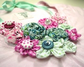 Pastel Colored Floral Fabric Necklace with Pearls and Buttons