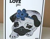 Love You Pug Mother's Day Card