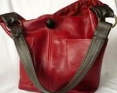 Luna Jaze handmade Red Leather hobo bag,  Hannah Versi Bag no.14
