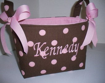 Brown & Pink  Polka Dot fabric Organizer Bin /  Basket