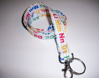 Lanyard ID Badge Holder - Back to School- Alphabet