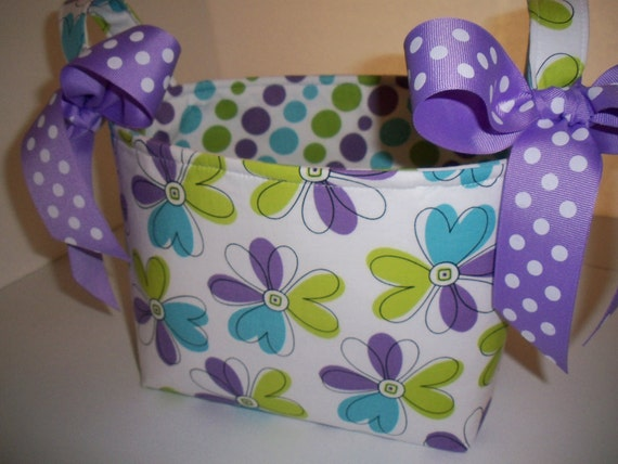 Flowers & Dots Fabric Organizer Bin / Basket