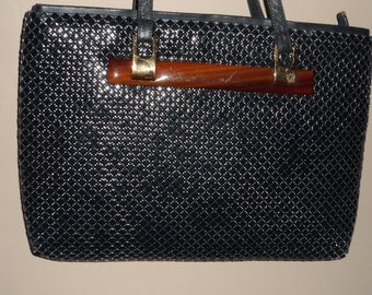 unique  vintage  metal mesh dark blue and brown marbilized design   handbag