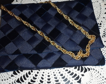 vintage woven  dark blue ribbon and velvet  purse with great gold chain classy look
