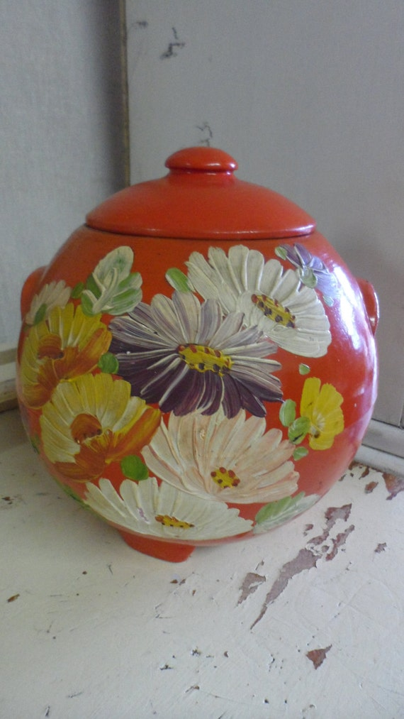 ransburg pottery retro orange flowered round cookie jar vintage cool look love the colores