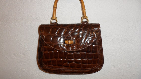 original y & s brown faux alligator brown leather handbag with shoulder strap or bamboo handle like new