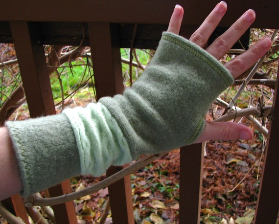 Fingerless gloves, arm warmers, txting gloves, gauntlets, commuter mitts, upcycled, eco sensitive, recycled sweater in Olive and Lime