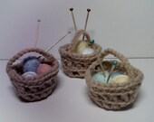 Miniature Crocheted Knitting Baskets Set of 3