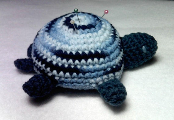 Crocheted Amigurumi Turtle Blue Variegated