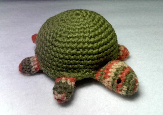 Crocheted Amigurumi Turtle Green Variegated