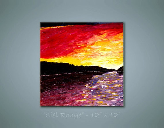 """Ciel Rouge - (Lehan) ORIGINAL Abstract painting acrylic on stretched canvas .. yellow white pink purple black .. 12"""" x 12"""""""
