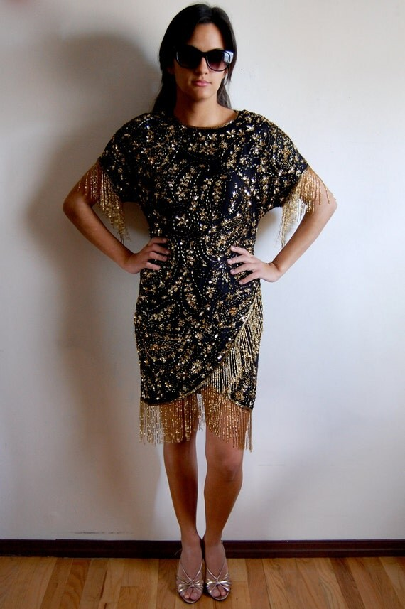 BLACK FRIDAY SALE - Vintage Silk Dress - Black and Gold Starry Night - Paisley Pattern Beaded Cocktail Dress - Size Small/Medium