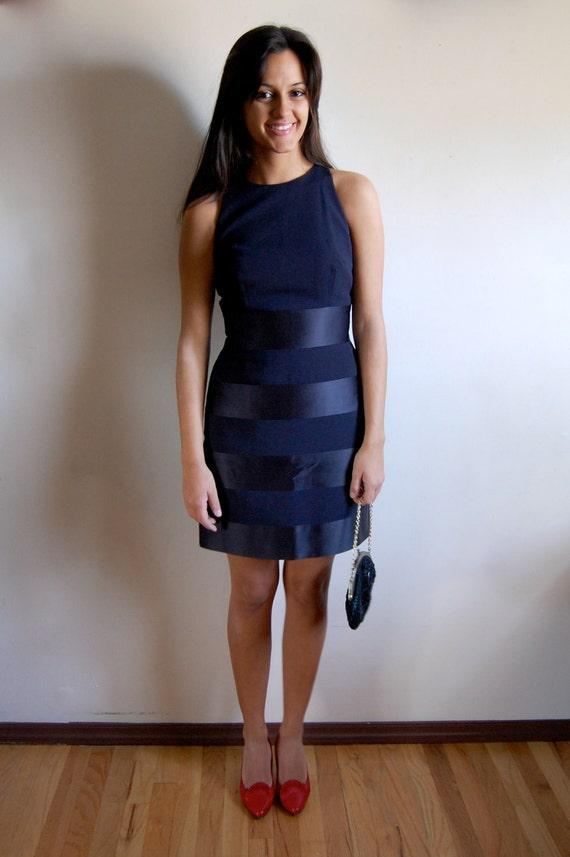 Sale vintage bandage dress navy blue cocktail dress in a dark blue