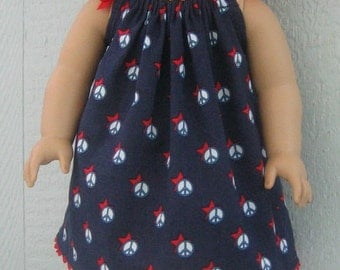 Patriotic Dress for American Girl Doll.  Patriotic Peace Signs Halter Dress for 18 inch Doll