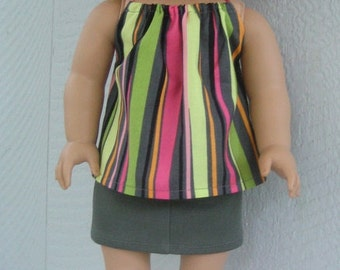 Top for American Girl Doll.  Bright Striped Halter Top for AG and 18 inch dolls.  Doll Clothes Fit American Girl Doll 18 inch dolls