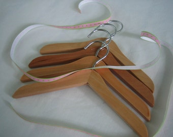 Doll Clothes Wood Hangers.  Large Wood Hangers for Baby, Pet, Doll.  No accessory clips.  Set of 4