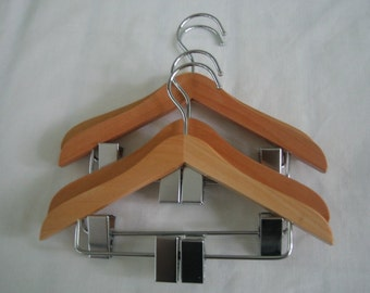 Baby, Doll or Pet clothes Hangers  - large - with accessory clips - set of 4
